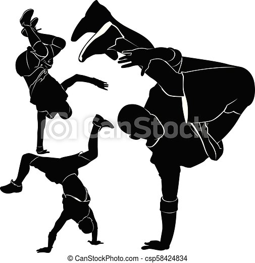 collection silhouettes breakdancer on a white background - csp58424834