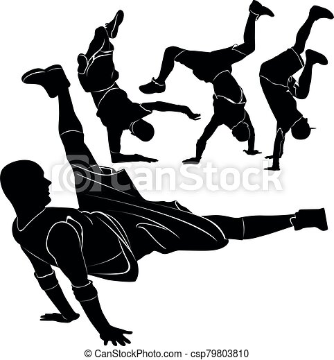 collection silhouettes breakdancer on a white background - csp79803810
