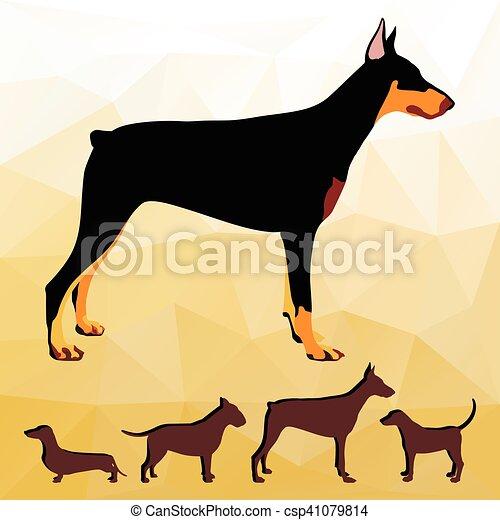 El perro cría siluetas. - csp41079814