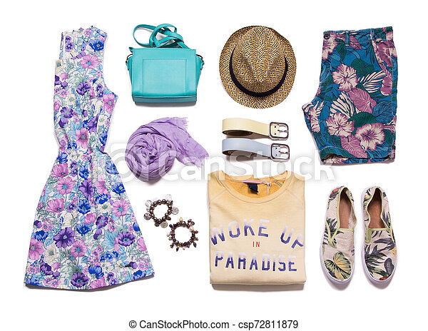 Collection summer clothes on a white background - csp72811879
