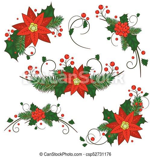 La colección de iconos de bayas de Navidad. Vector - csp52731176
