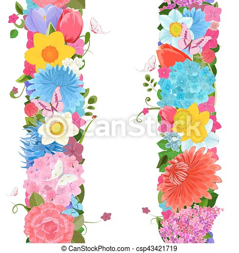 Collection vertical borders from spring flowers for your design collection vertical borders from spring flowers for your design csp43421719 mightylinksfo