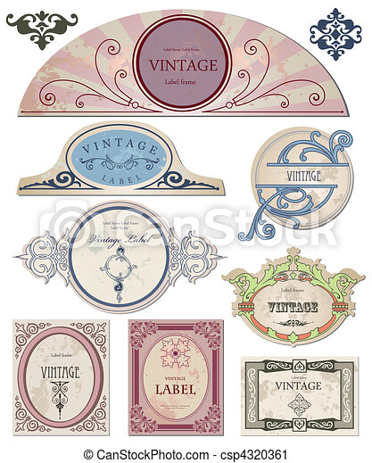 Collection vintage labels  for your design. Vector - csp4320361
