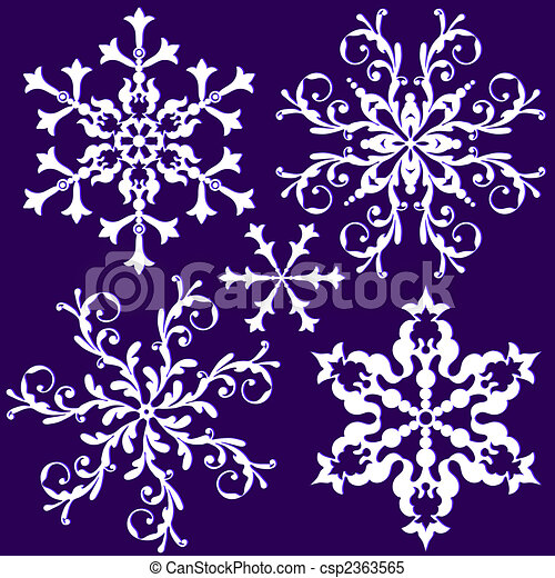 Collection vintage snowflake (vector) - csp2363565
