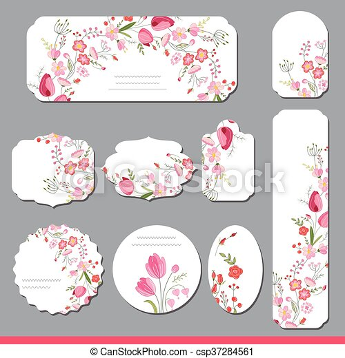 Collection with different floral paper labels for  announcements. Round,square,rectangular, different shapes. Red and pink flowers. Tulips and roses - csp37284561