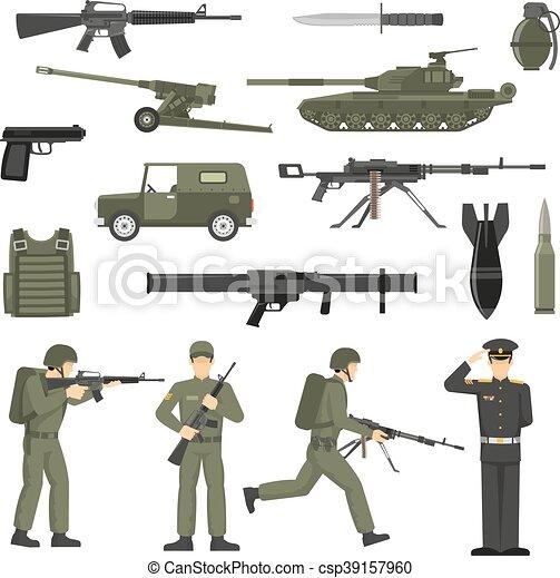 collecton, kaki, armée, couleur, icônes, militaire