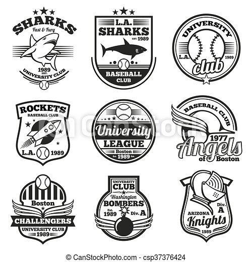 College athletic vector labels, logos, badges and emblems set. T-shirt design - csp37376424