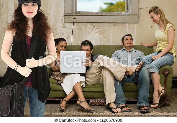 College Friends in Poverty Style Apartment - csp6576900