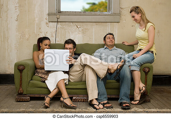 College Friends in Poverty Style Apartment - csp6559903