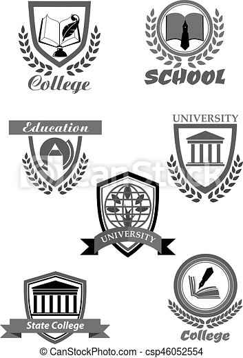College or university and school vector icons set - csp46052554
