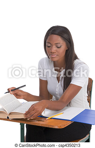 College student African American woman by desk - csp4350213