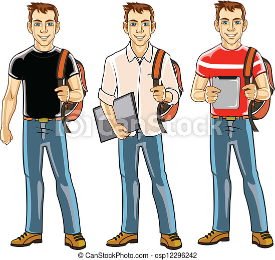college student boy handsome college student in action eps vector rh canstockphoto com college student studying clipart college student clip art images