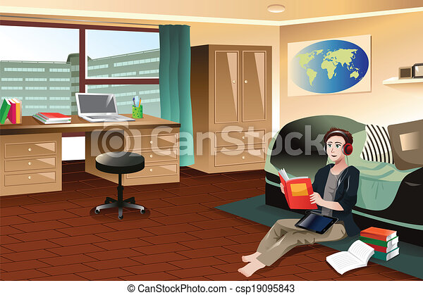 College student studying in dorm - csp19095843