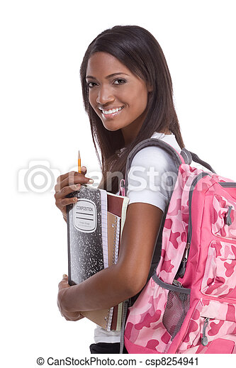 College student young African American woman - csp8254941