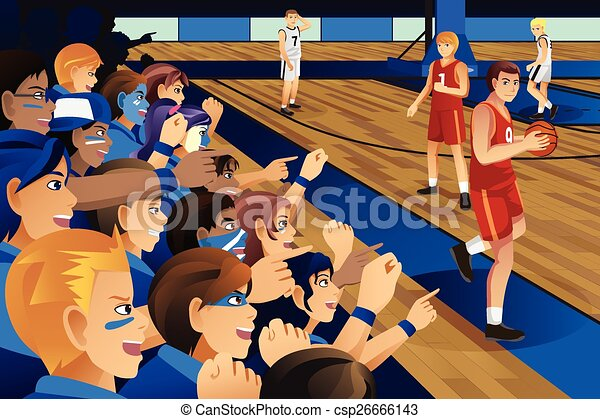 College Students Cheering For Their Team In A Basketball
