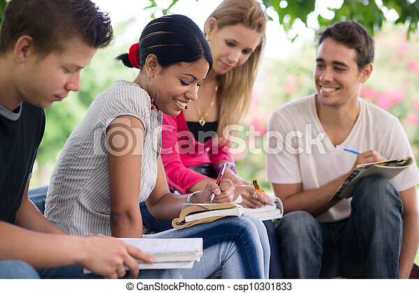 college students doing homeworks in park - csp10301833