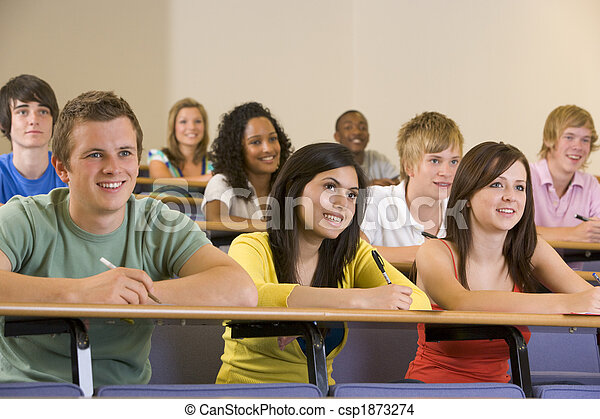 College students listening to a university lecture - csp1873274