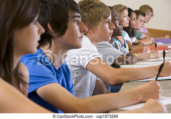 College students listening to a university lecture - csp1873269