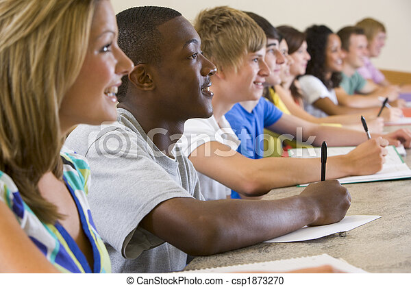 College students listening to a university lecture - csp1873270