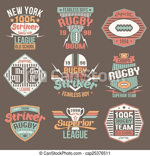 f4bacd37b College team american football retro vintage emblems graphic design ...