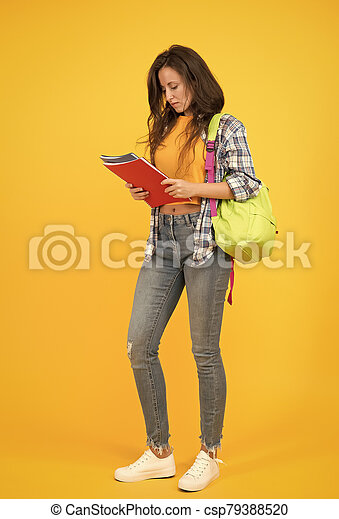 College university education. School girl with backpack. Woman university student. Final exam and graduation. Dedicated to studying. Student with backpack. Modern life university campus. Lifestyle - csp79388520