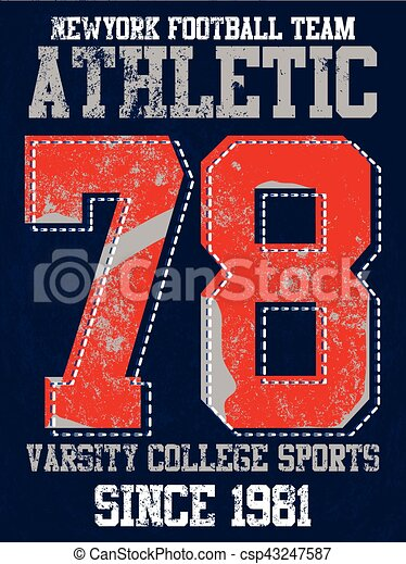 College vector label and print design for t shirt graphic design - csp43247587