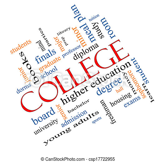 College Word Cloud Concept Angled - csp17722955