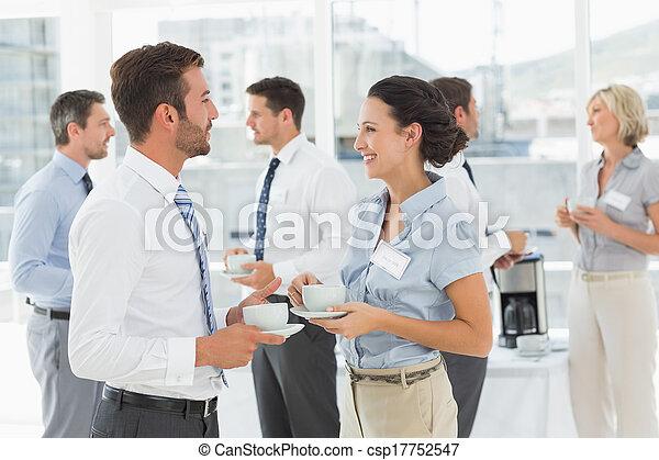 colleghi, c, discussione, tè - csp17752547