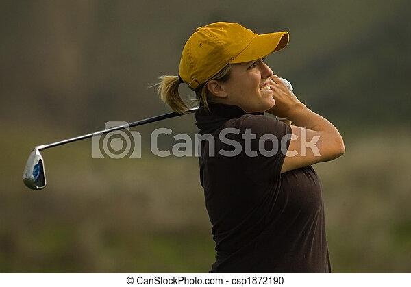 Collegiate golfer swing golf club - csp1872190