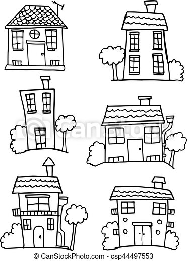 Colletion of house set hand draw - csp44497553