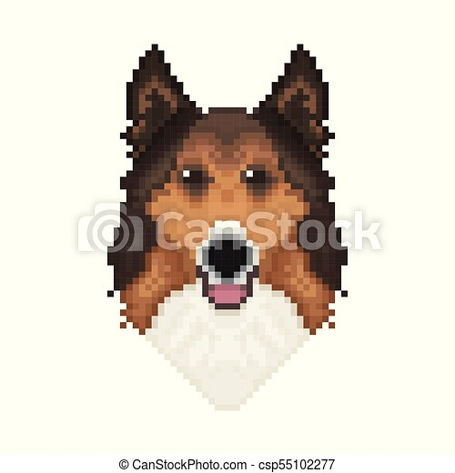 Colley Art Chien Tête Pixel Style