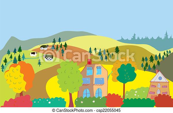collines, campagne, arbres, maisons, automne, vaches, paysage - csp22055045