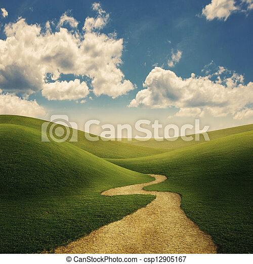 collines, chemin, herbeux - csp12905167