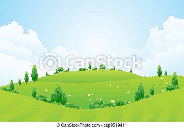 collines, fleurs, fond, herbe, arbres, vert - csp9519411