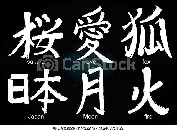 Colllection Of Kanji Hieroglyph Japanese Kanji Calligraphic Words