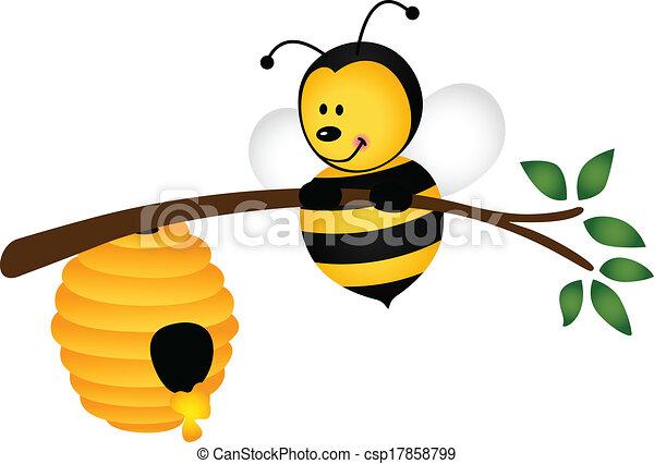 colmena rama abeja vector