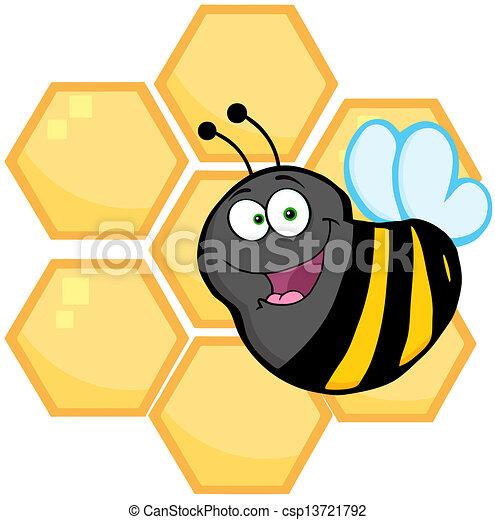vector colmenas naranja frente abeja