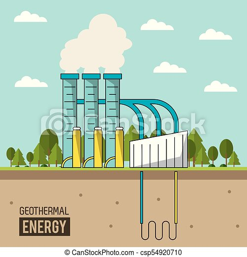 Coloful Background Geothermal Energy Production Plant With Forest