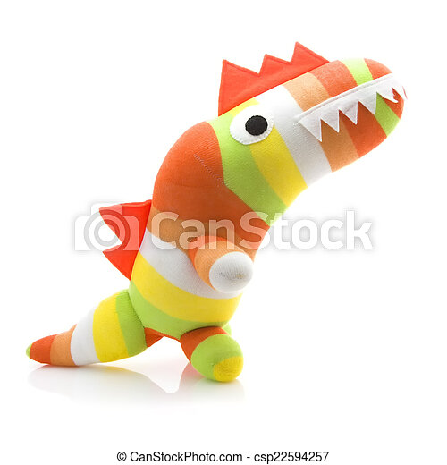 Coloful Hand Made Dinosar on a White Background - csp22594257