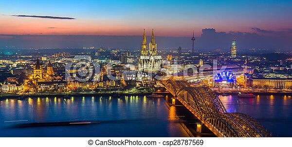 Cologne at dusk - csp28787569