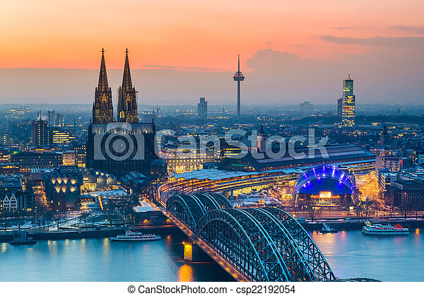 Cologne at dusk - csp22192054