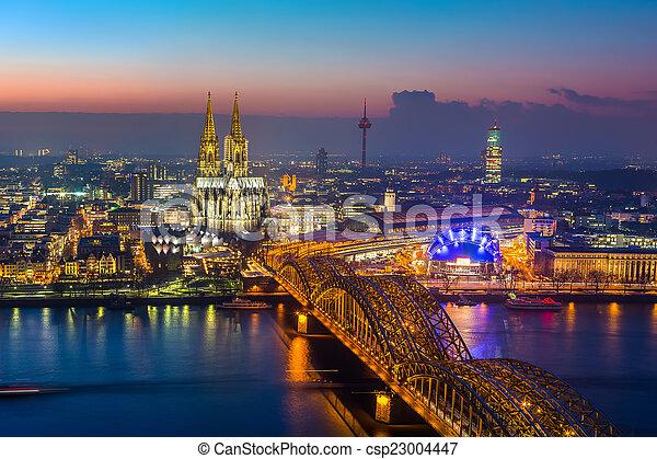 Cologne at dusk - csp23004447