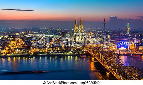 Cologne at dusk - csp25230542