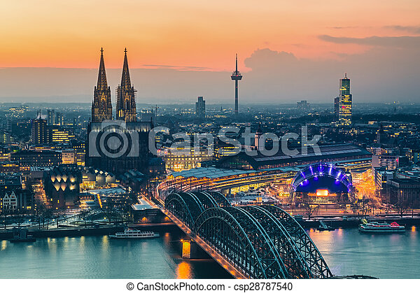 Cologne at dusk - csp28787540