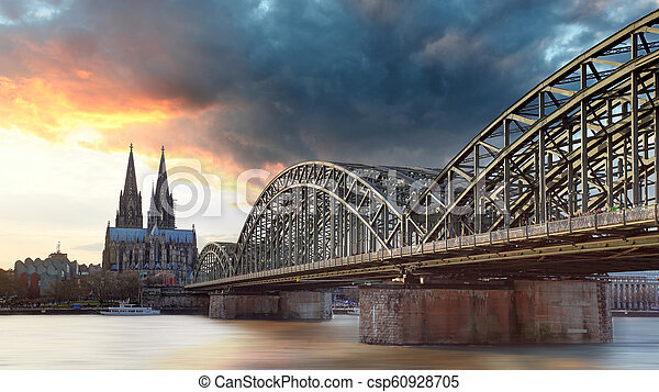 Cologne at sunset, Germany - csp60928705