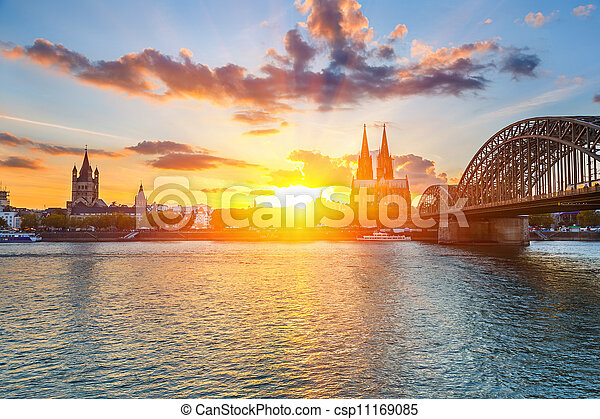 Cologne at sunset - csp11169085