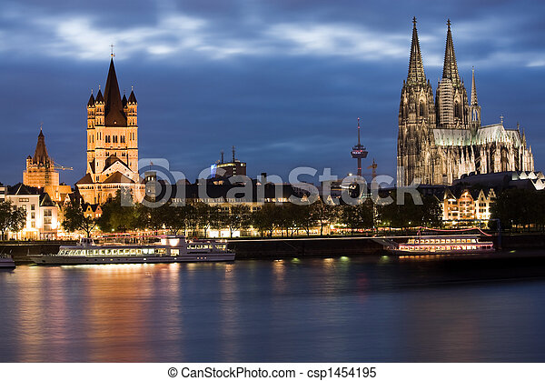 Cologne at sunset - csp1454195