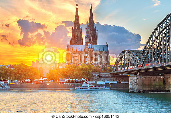 Cologne at sunset - csp16051442