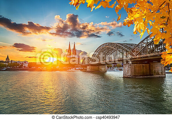 Cologne at sunset - csp40493947