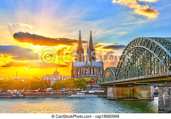 Cologne at sunset - csp18660999